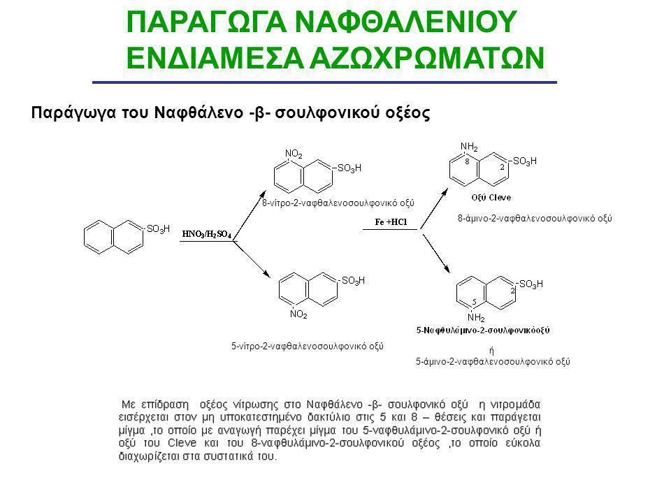 ΠΑΡΑΓΩΓΑ ΝΑΦΘΑΛΕΝΙΟΥ ΕΝΔΙΑΜΕΣΑ ΑΖΩΧΡΩΜΑΤΩΝ Παράγωγα του Ναφθάλενο -β- σουλφονικού οξέος ή 5-άμινο-2-ναφθαλενοσουλφονικό οξύ 8-άμινο-2-ναφθαλενοσουλφον