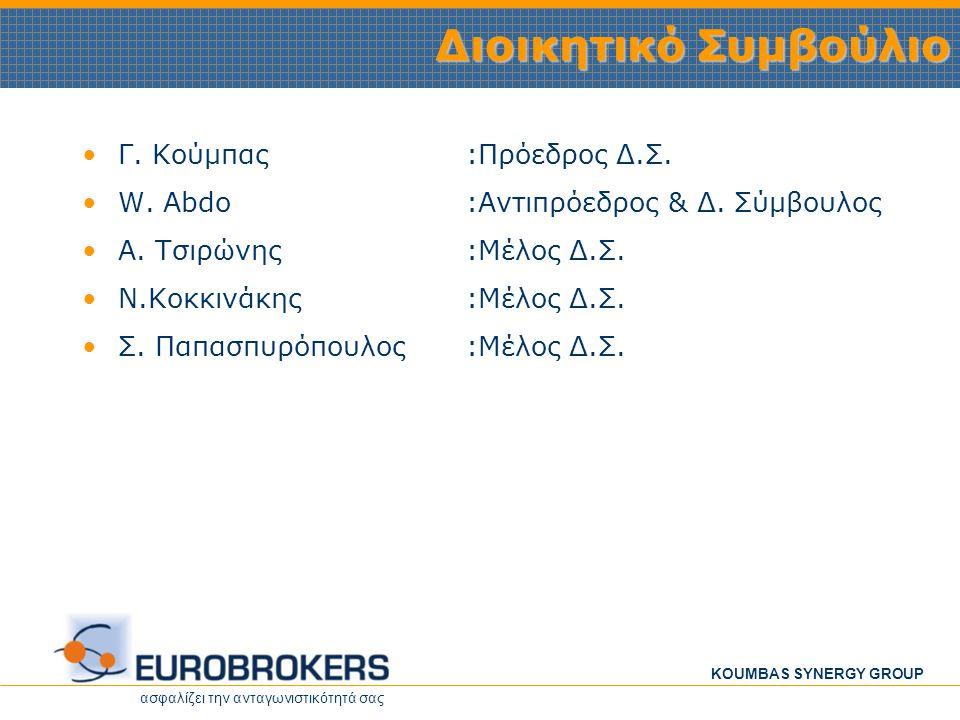 ασφαλίζει την ανταγωνιστικότητά σας KOUMBAS SYNERGY GROUP Στρατηγικοί Στόχοι Οι δραστηριότητες της Eurobrokers επεκτείνονται σε τομείς που συμπληρώνουν τις βασικές της λειτουργίες π.χ.