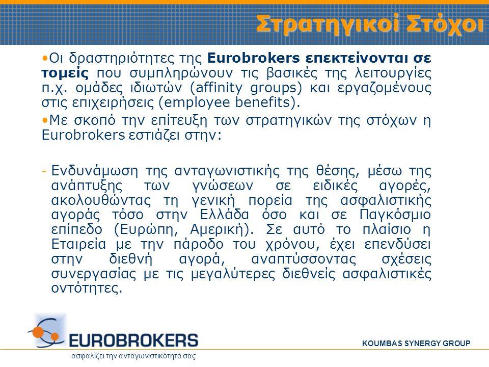 ασφαλίζει την ανταγωνιστικότητά σας KOUMBAS SYNERGY GROUP Στρατηγικοί Στόχοι Οι δραστηριότητες της Eurobrokers επεκτείνονται σε τομείς που συμπληρώνου