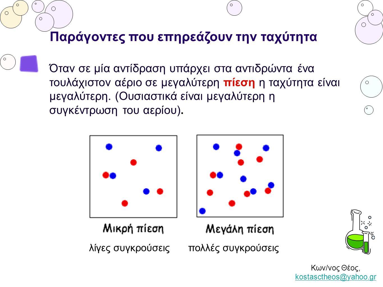 Κων/νος Θέος, kostasctheos@yahoo.gr kostasctheos@yahoo.gr Παράγοντες που επηρεάζουν την ταχύτητα Όταν σε μία αντίδραση υπάρχει στα αντιδρώντα ένα τουλ