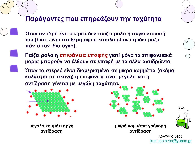 Κων/νος Θέος, kostasctheos@yahoo.gr kostasctheos@yahoo.gr Παράγοντες που επηρεάζουν την ταχύτητα Όταν αντιδρά ένα στερεό δεν παίζει ρόλο η συγκέντρωσή