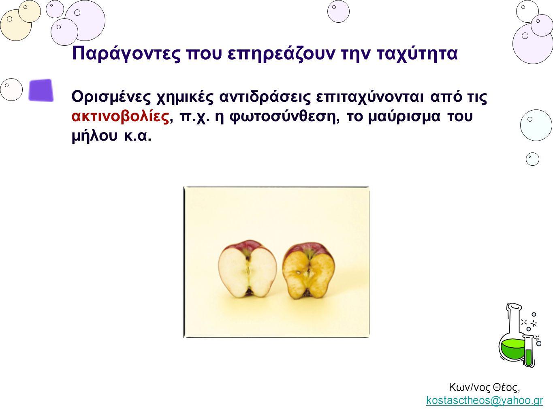 Κων/νος Θέος, kostasctheos@yahoo.gr kostasctheos@yahoo.gr Παράγοντες που επηρεάζουν την ταχύτητα Ορισμένες χημικές αντιδράσεις επιταχύνονται από τις α