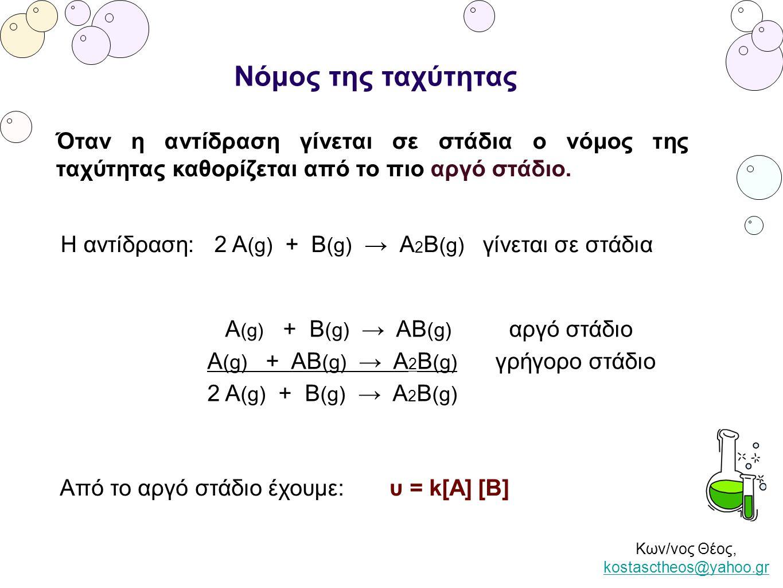 Κων/νος Θέος, kostasctheos@yahoo.gr kostasctheos@yahoo.gr Νόμος της ταχύτητας Όταν η αντίδραση γίνεται σε στάδια ο νόμος της ταχύτητας καθορίζεται από