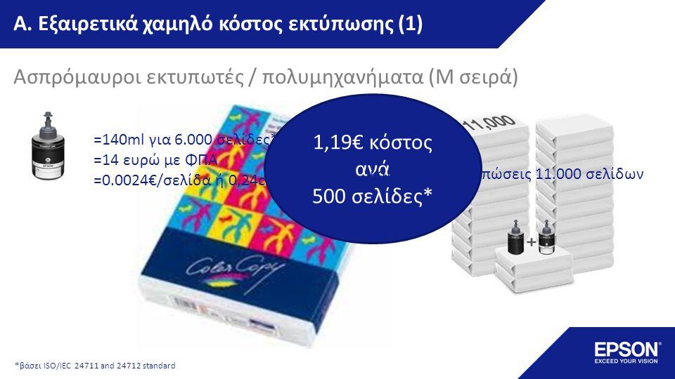 Εξαιρετικά χαμηλό κόστος εκτύπωσης (2) Έγχρωμοι εκτυπωτές / πολυμηχανήματα (L σειρά) 2,5€ κόστος ανά 500 σελίδες*...και αρχικές εκτυπώσεις 4.000/6.500 σελίδων *βάσει ISO/IEC 24711 and 24712 standard =70ml για 4.000 σελ Α/Μ & 6.500σελ εγχ* =6 ευρώ με ΦΠΑ/χρώμα =0.005€/σελίδα ή 0,5ct/σελίδα