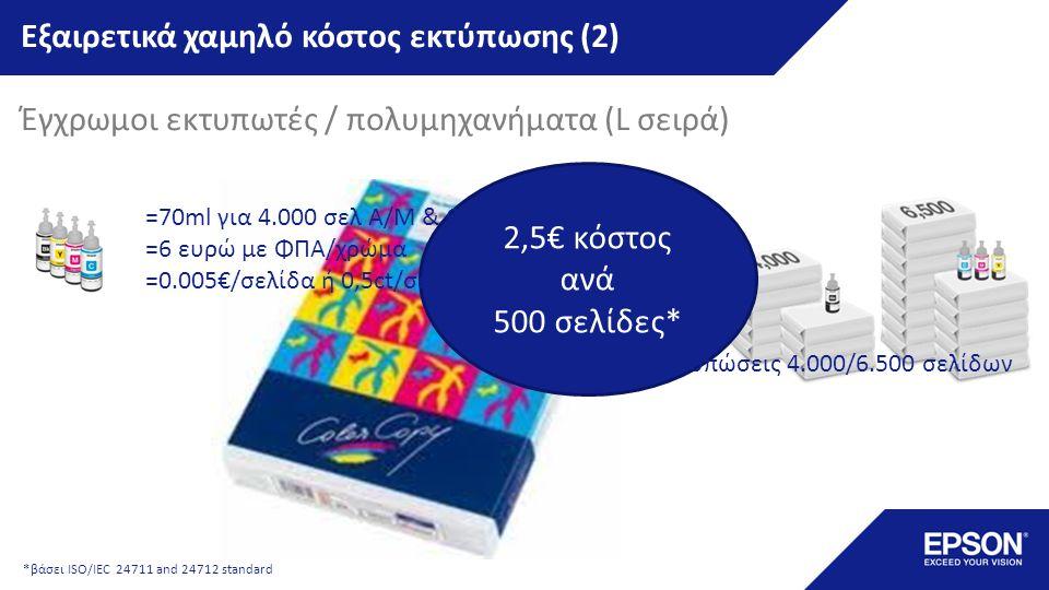 Εξαιρετικά χαμηλό κόστος εκτύπωσης (2) Έγχρωμοι εκτυπωτές / πολυμηχανήματα (L σειρά) 2,5€ κόστος ανά 500 σελίδες*...και αρχικές εκτυπώσεις 4.000/6.500