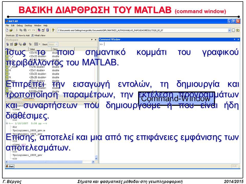 Γ. Βέργος Σήματα και φασματικές μέθοδοι στη γεωπληροφορική 2014/2015 ΒΑΣΙΚΗ ΔΙΑΡΘΡΩΣΗ ΤΟΥ MATLAB (command window) Command-Window Ίσως το ποιο σημαντικ