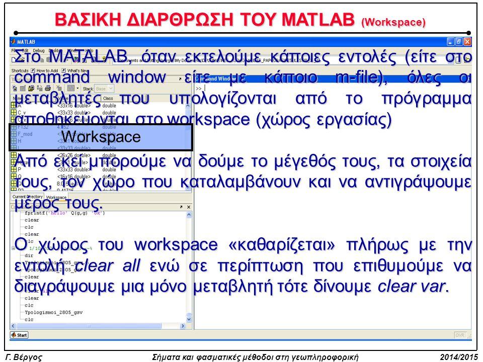 Γ. Βέργος Σήματα και φασματικές μέθοδοι στη γεωπληροφορική 2014/2015 ΒΑΣΙΚΗ ΔΙΑΡΘΡΩΣΗ ΤΟΥ MATLAB (Workspace) Στo MATALAB, όταν εκτελούμε κάποιες εντολ