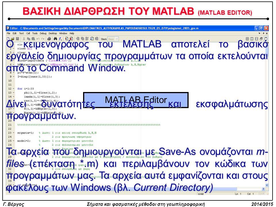 Γ. Βέργος Σήματα και φασματικές μέθοδοι στη γεωπληροφορική 2014/2015 ΒΑΣΙΚΗ ΔΙΑΡΘΡΩΣΗ ΤΟΥ MATLAB (MATLAB EDITOR) MATLAB Editor Ο κειμενογράφος του MAT