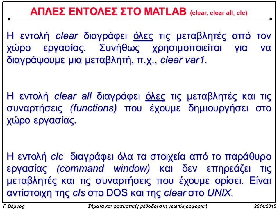 Γ. Βέργος Σήματα και φασματικές μέθοδοι στη γεωπληροφορική 2014/2015 ΑΠΛΕΣ ΕΝΤΟΛΕΣ ΣΤΟ MATLAB (clear, clear all, clc) Η εντολή clear διαγράφει όλες τι
