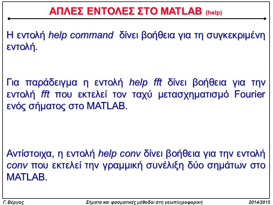 Γ. Βέργος Σήματα και φασματικές μέθοδοι στη γεωπληροφορική 2014/2015 ΑΠΛΕΣ ΕΝΤΟΛΕΣ ΣΤΟ MATLAB (help) Η εντολή help command δίνει βοήθεια για τη συγκεκ