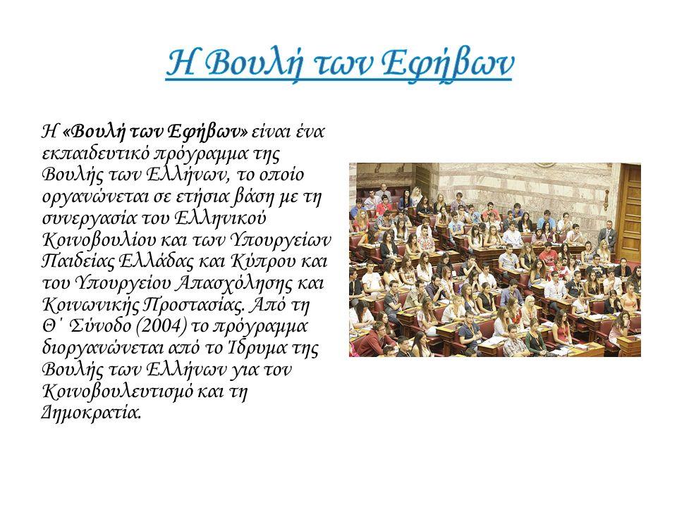 Η «Βουλή των Εφήβων» είναι ένα εκπαιδευτικό πρόγραμμα της Βουλής των Ελλήνων, το οποίο οργανώνεται σε ετήσια βάση με τη συνεργασία του Ελληνικού Κοινο