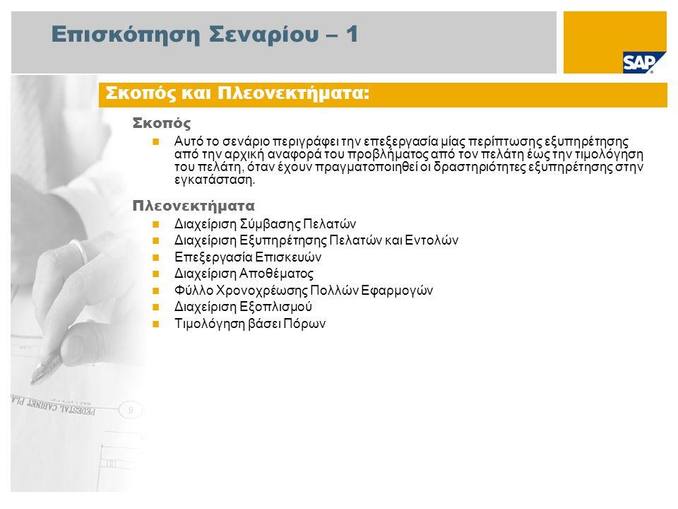 Επισκόπηση Σεναρίου – 1 Σκοπός Αυτό το σενάριο περιγράφει την επεξεργασία μίας περίπτωσης εξυπηρέτησης από την αρχική αναφορά του προβλήματος από τον πελάτη έως την τιμολόγηση του πελάτη, όταν έχουν πραγματοποιηθεί οι δραστηριότητες εξυπηρέτησης στην εγκατάσταση.