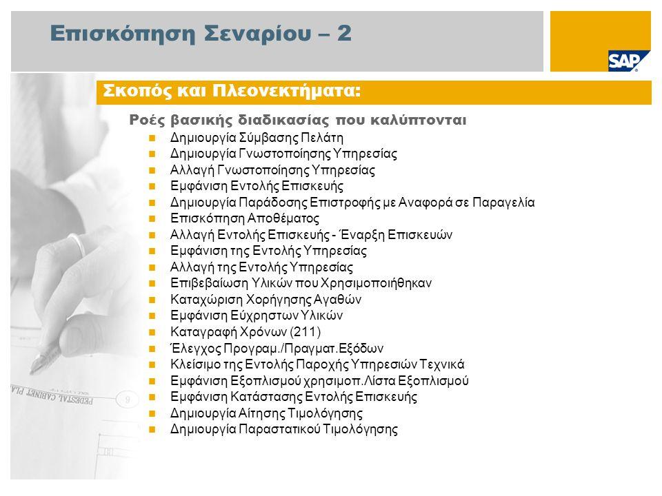 Επισκόπηση Σεναρίου – 3 Απαιτείται Το πακέτο βελτίωσης 4 του SAP για SAP ERP 6.0 Ρόλοι εταιρίας στις ροές διαδικασίας Συντηρητής Διαχειριστής Πωλήσεων Υπάλληλος του Σέρβις Διαχειριστής Τιμολόγησης Υπάλληλος Αποθήκης Αγοραστής Εφαρμογές SAP που Απαιτούνται: