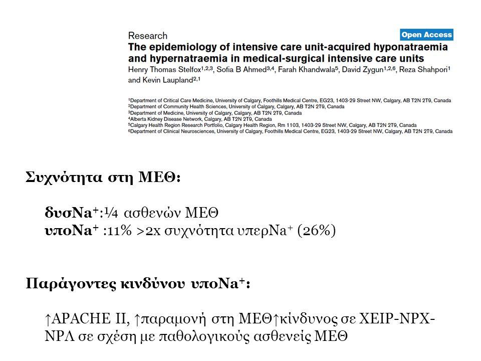 Συχνότητα στη ΜΕΘ: δυσNa + :¼ ασθενών ΜΕΘ υποNa + :11% >2x συχνότητα υπερNa + (26%) Παράγοντες κινδύνου υποNa + : ↑ APACHE II, ↑ παραμονή στη ΜΕΘ ↑ κί