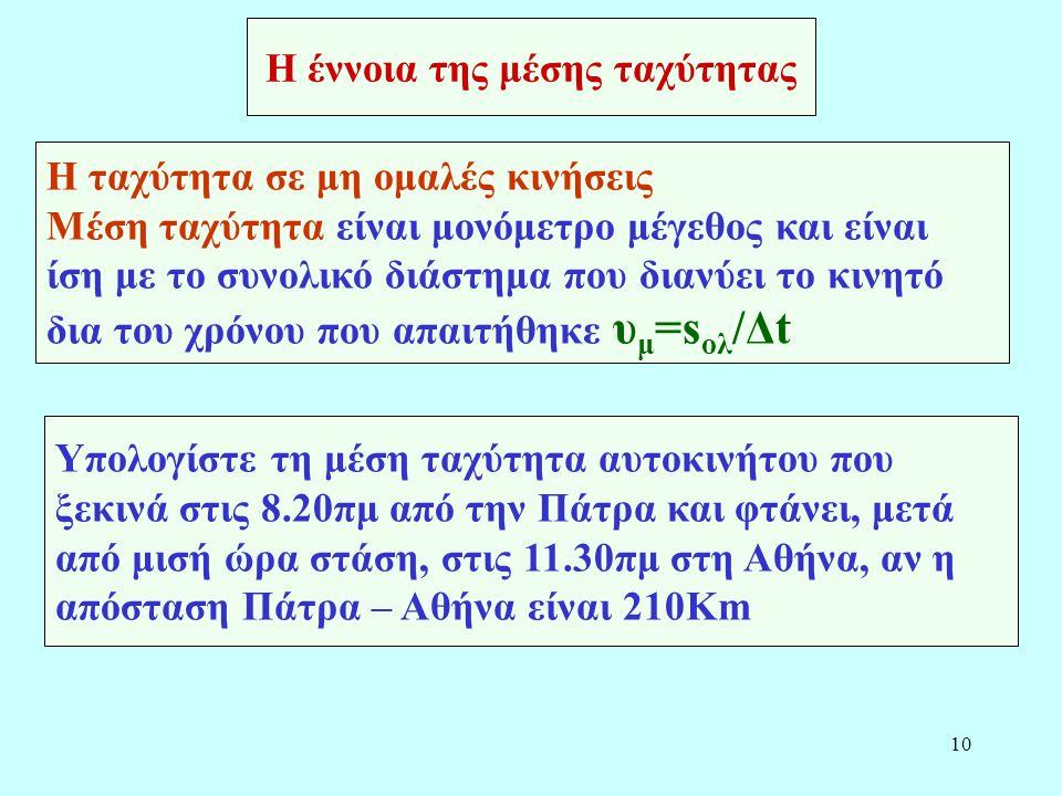10 Η έννοια της μέσης ταχύτητας Η ταχύτητα σε μη ομαλές κινήσεις Μέση ταχύτητα είναι μονόμετρο μέγεθος και είναι ίση με το συνολικό διάστημα που διανύ