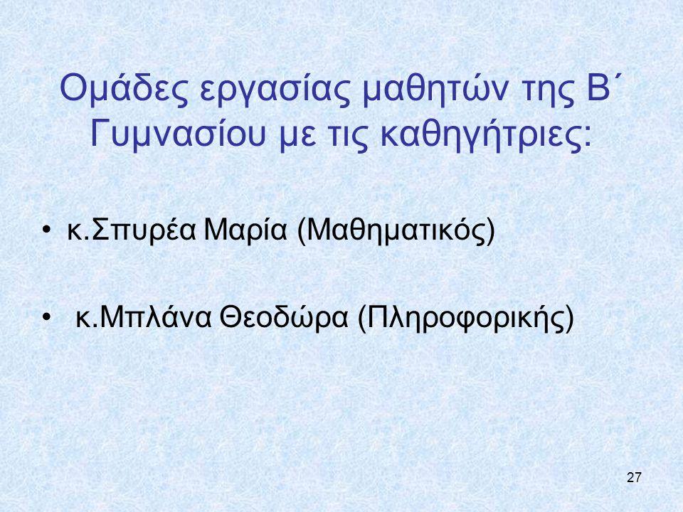 27 Ομάδες εργασίας μαθητών της Β΄ Γυμνασίου με τις καθηγήτριες: κ.Σπυρέα Μαρία (Mαθηματικός) κ.Μπλάνα Θεοδώρα (Πληροφορικής)