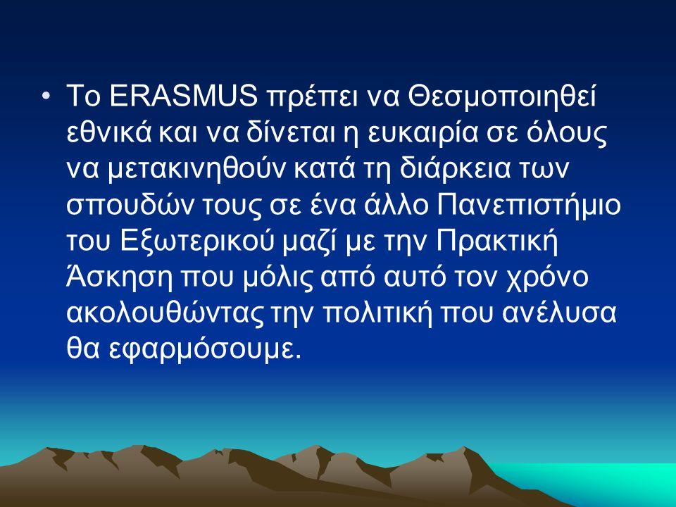 Το ERASMUS πρέπει να Θεσμοποιηθεί εθνικά και να δίνεται η ευκαιρία σε όλους να μετακινηθούν κατά τη διάρκεια των σπουδών τους σε ένα άλλο Πανεπιστήμιο του Εξωτερικού μαζί με την Πρακτική Άσκηση που μόλις από αυτό τον χρόνο ακολουθώντας την πολιτική που ανέλυσα θα εφαρμόσουμε.