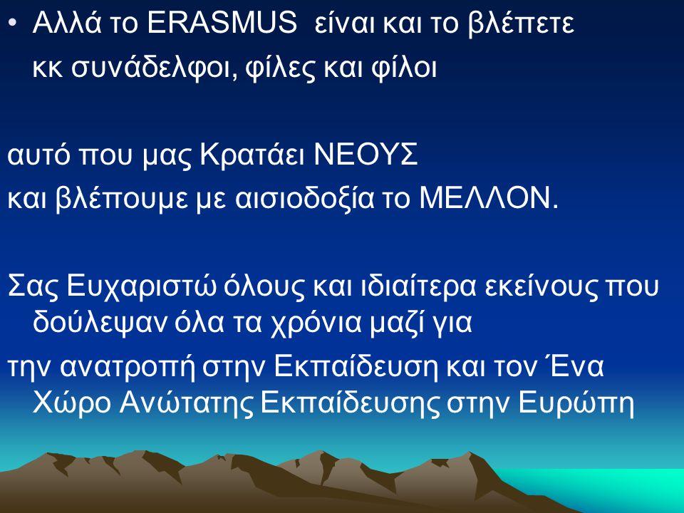 Αλλά το ERASMUS είναι και το βλέπετε κκ συνάδελφοι, φίλες και φίλοι αυτό που μας Κρατάει ΝΕΟΥΣ και βλέπουμε με αισιοδοξία το ΜΕΛΛΟΝ.