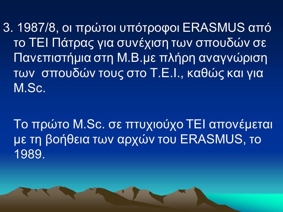 3. 1987/8, οι πρώτοι υπότροφοι ERASMUS από το ΤΕΙ Πάτρας για συνέχιση των σπουδών σε Πανεπιστήμια στη Μ.Β.με πλήρη αναγνώριση των σπουδών τους στο Τ.Ε