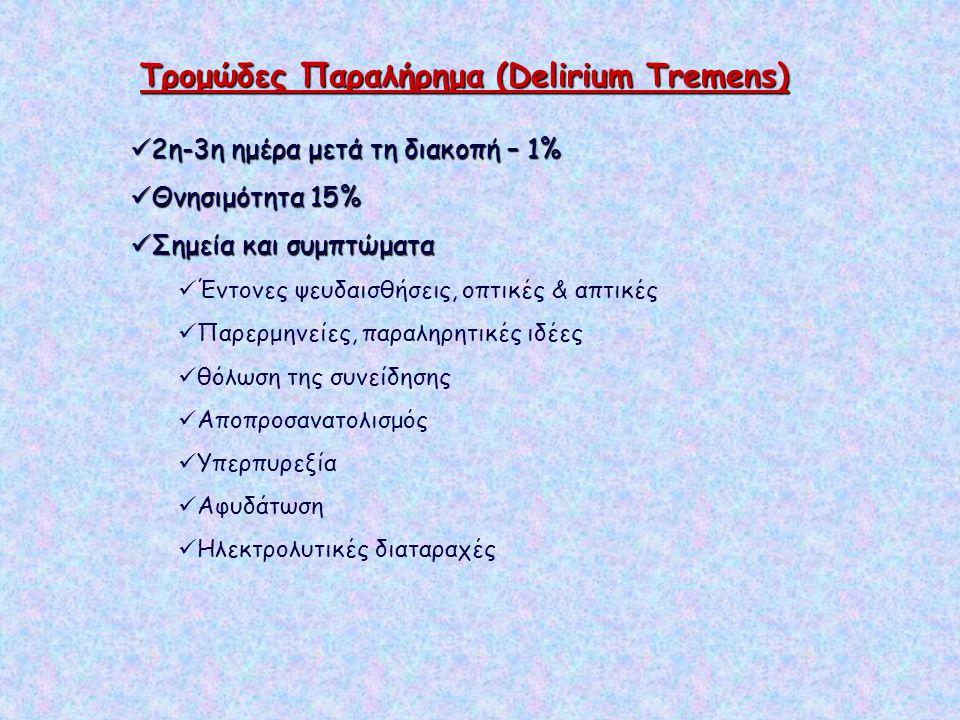 Τρομώδες Παραλήρημα (Delirium Tremens) 2η-3η ημέρα μετά τη διακοπή – 1% 2η-3η ημέρα μετά τη διακοπή – 1% Θνησιμότητα 15% Θνησιμότητα 15% Σημεία και συ