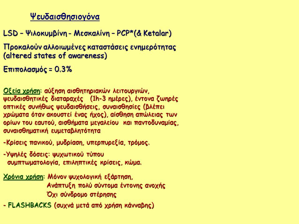 LSD – Ψιλοκυμβίνη - Μεσκαλίνη – PCP*(& Κetalar) Προκαλούν αλλοιωμένες καταστάσεις ενημερότητας (altered states of awareness) Επιπολασμός = 0.3% Οξεία