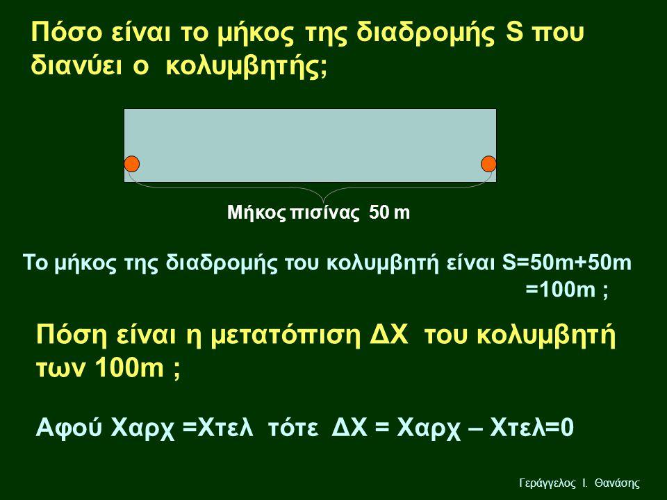 Γεράγγελος Ι. Θανάσης Πόσo είναι το μήκος της διαδρομής S που διανύει ο κολυμβητής; Μήκος πισίνας 50 m Πόση είναι η μετατόπιση ΔΧ του κολυμβητή των 10