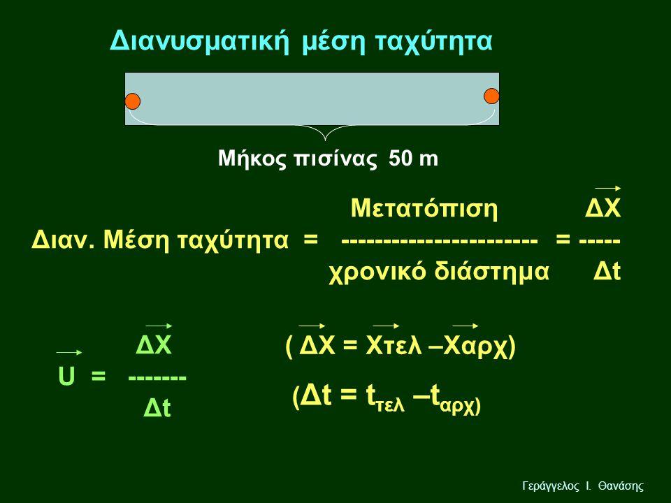 Γεράγγελος Ι. Θανάσης Διανυσματική μέση ταχύτητα Μήκος πισίνας 50 m Μετατόπιση ΔΧ Διαν. Μέση ταχύτητα = ----------------------- = ----- χρονικό διάστη