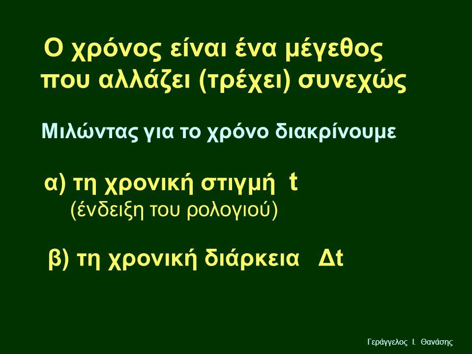 Γεράγγελος Ι. Θανάσης Ο χρόνος είναι ένα μέγεθος που αλλάζει (τρέχει) συνεχώς Μιλώντας για το χρόνο διακρίνουμε α) τη χρονική στιγμή t (ένδειξη του ρο