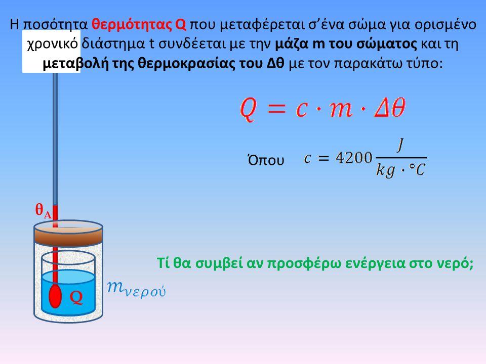 Q θΑθΑ Τί θα συμβεί αν προσφέρω ενέργεια στο νερό; H ποσότητα θερμότητας Q που μεταφέρεται σ'ένα σώμα για ορισμένο χρονικό διάστημα t συνδέεται με την μάζα m του σώματος και τη μεταβολή της θερμοκρασίας του Δθ με τον παρακάτω τύπο: Όπου
