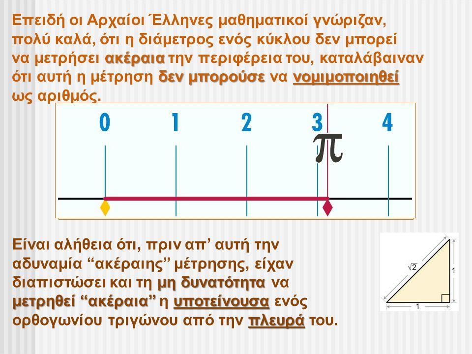 Επειδή οι Αρχαίοι Έλληνες μαθηματικοί γνώριζαν, πολύ καλά, ότι η διάμετρος ενός κύκλου δεν μπορεί ακέραια να μετρήσει ακέραια την περιφέρεια του, κατα
