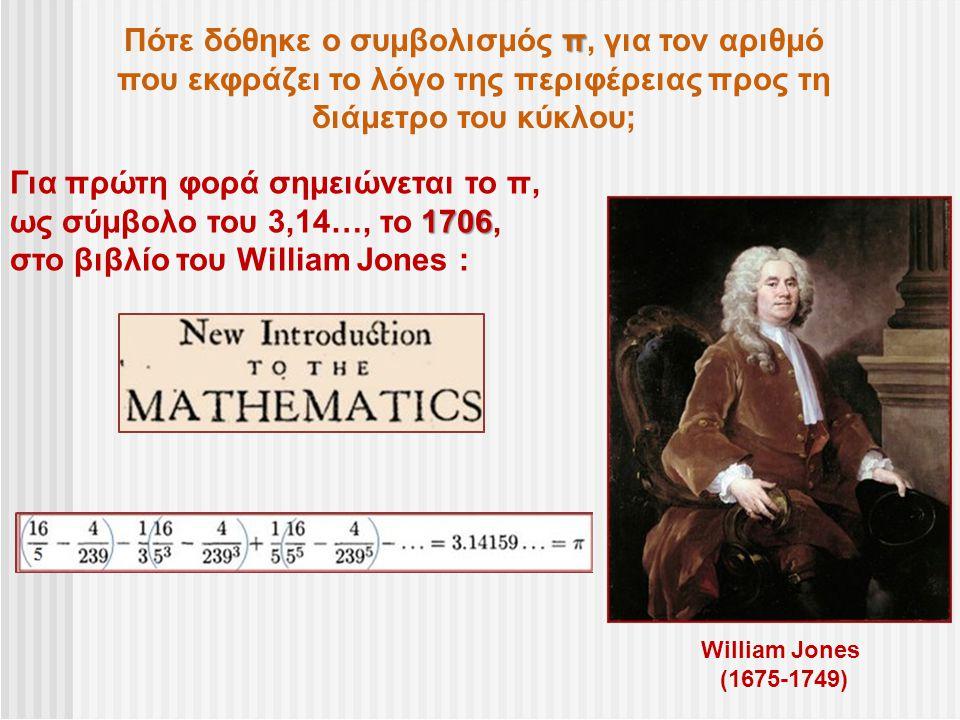 π Πότε δόθηκε ο συμβολισμός π, για τον αριθμό που εκφράζει το λόγο της περιφέρειας προς τη διάμετρο του κύκλου; William Jones (1675-1749) Για πρώτη φο