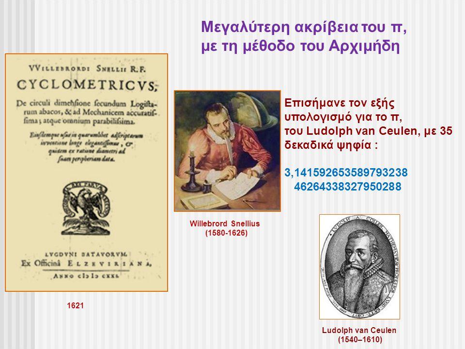 Willebrord Snellius (1580-1626) Επισήμανε τον εξής υπολογισμό για το π, του Ludolph van Ceulen, με 35 δεκαδικά ψηφία : 3,141592653589793238 4626433832