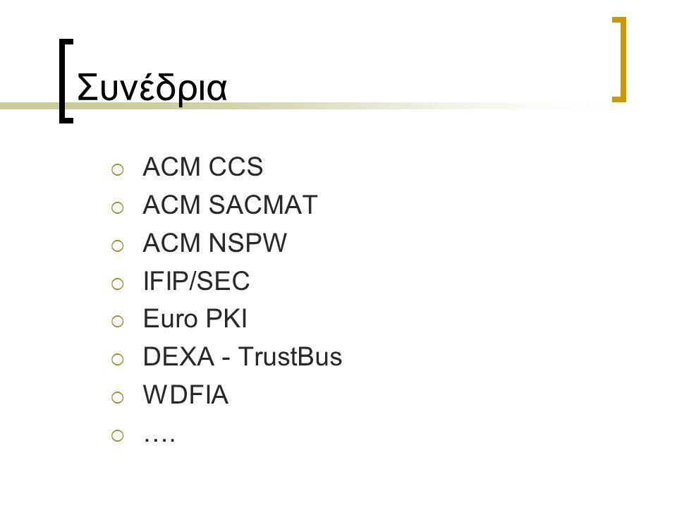 Συνέδρια  ACM CCS  ACM SACMAT  ACM NSPW  IFIP/SEC  Euro PKI  DEXA - TrustBus  WDFIA  ….