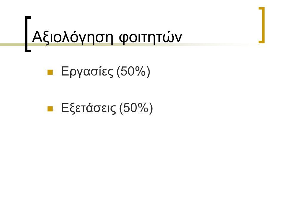 Αξιολόγηση φοιτητών Εργασίες (50%) Εξετάσεις (50%)