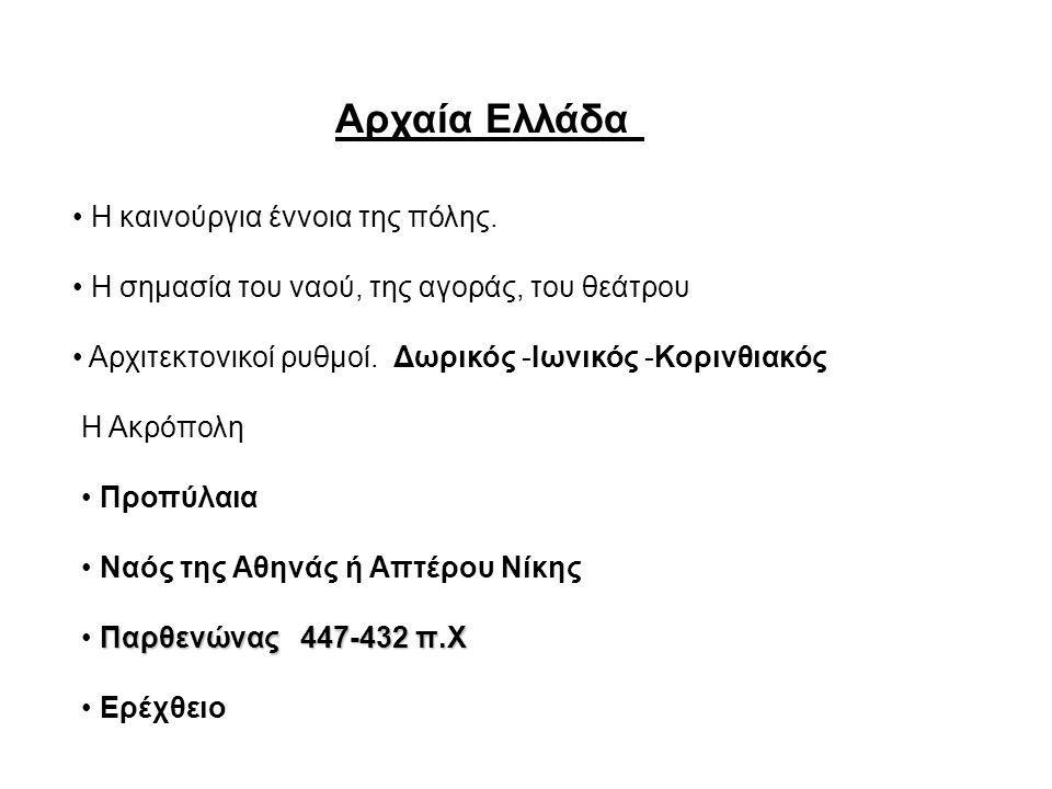 Αρχαία Ελλάδα Η καινούργια έννοια της πόλης. Η σημασία του ναού, της αγοράς, του θεάτρου Αρχιτεκτονικοί ρυθμοί. Δωρικός -Ιωνικός -Κορινθιακός Η Ακρόπο