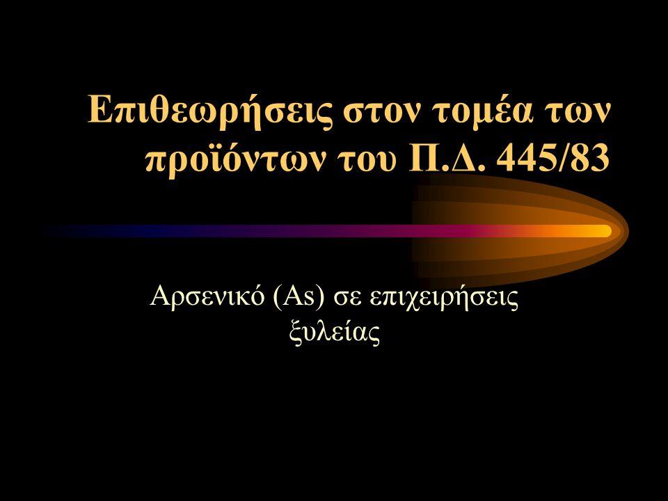 Επιθεωρήσεις στον τομέα των προϊόντων του Π.Δ. 445/83 Αρσενικό (Αs) σε επιχειρήσεις ξυλείας