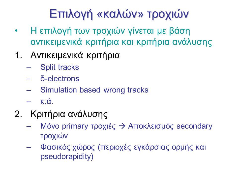 Επιλογή «καλών» τροχιών Η επιλογή των τροχιών γίνεται με βάση αντικειμενικά κριτήρια και κριτήρια ανάλυσης 1.Αντικειμενικά κριτήρια –Split tracks –δ-electrons –Simulation based wrong tracks –κ.ά.
