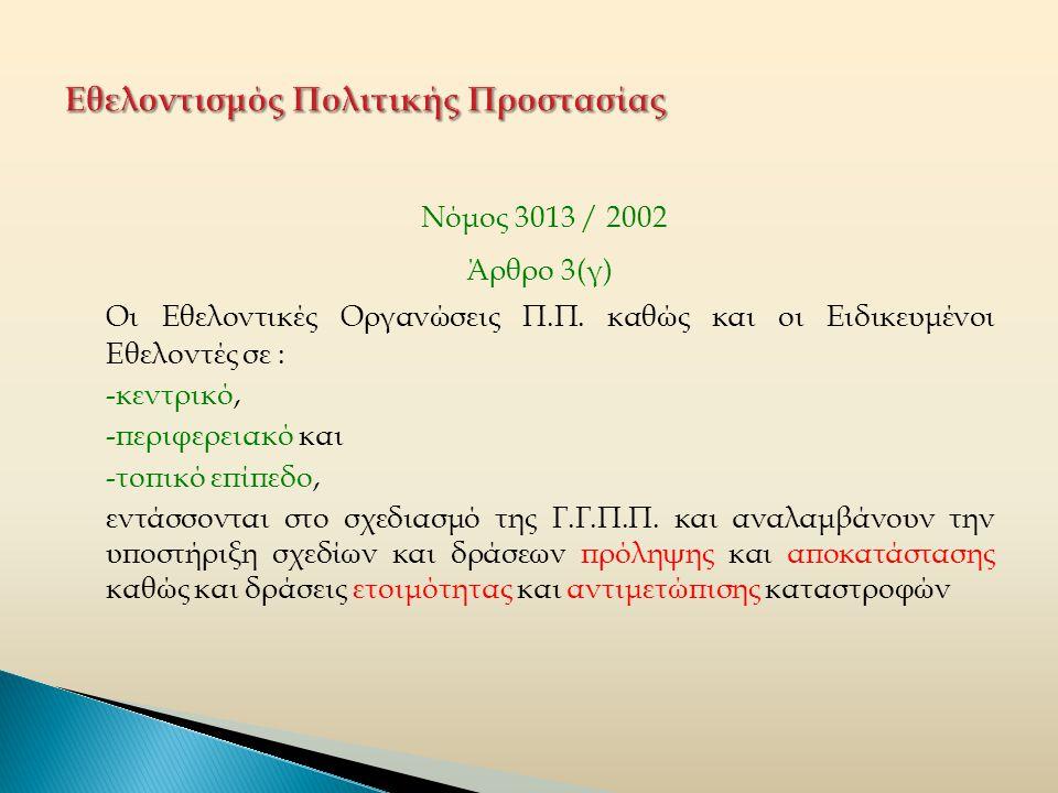 Νόμος 3013 / 2002 Άρθρο 3(γ) Οι Εθελοντικές Οργανώσεις Π.Π.