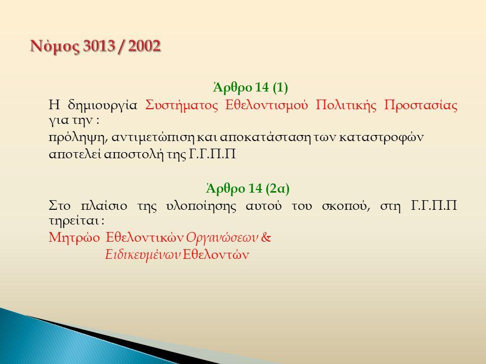 Άρθρο 14 (1) Η δημιουργία Συστήματος Εθελοντισμού Πολιτικής Προστασίας για την : πρόληψη, αντιμετώπιση και αποκατάσταση των καταστροφών αποτελεί αποστολή της Γ.Γ.Π.Π Άρθρο 14 (2α) Στο πλαίσιο της υλοποίησης αυτού του σκοπού, στη Γ.Γ.Π.Π τηρείται : Μητρώο Εθελοντικών Οργανώσεων & Ειδικευμένων Εθελοντών