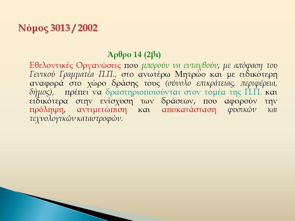 Άρθρο 14 (2βιι)  Ο καθορισμός των κριτηρίων δράσης των εθελοντικών οργανώσεων,  η τηρούμενη διαδικασία για την εγγραφή τους στο οικείο Μητρώο της Γ.Γ.Π.Π.,  ο χαρακτηρισμός τους ως εθνικών, περιφερειακών, νομαρχιακών και τοπικών,  η δυνατότητα χρήσης από τα μέλη τους των αναγκαίων μέσων και εξοπλισμού που διαθέτουν οι Ο.Τ.Α., καθώς και  η διαδικασία επιχειρησιακής ένταξης τους στα αντίστοιχα Σ.Ο.Π.Π.