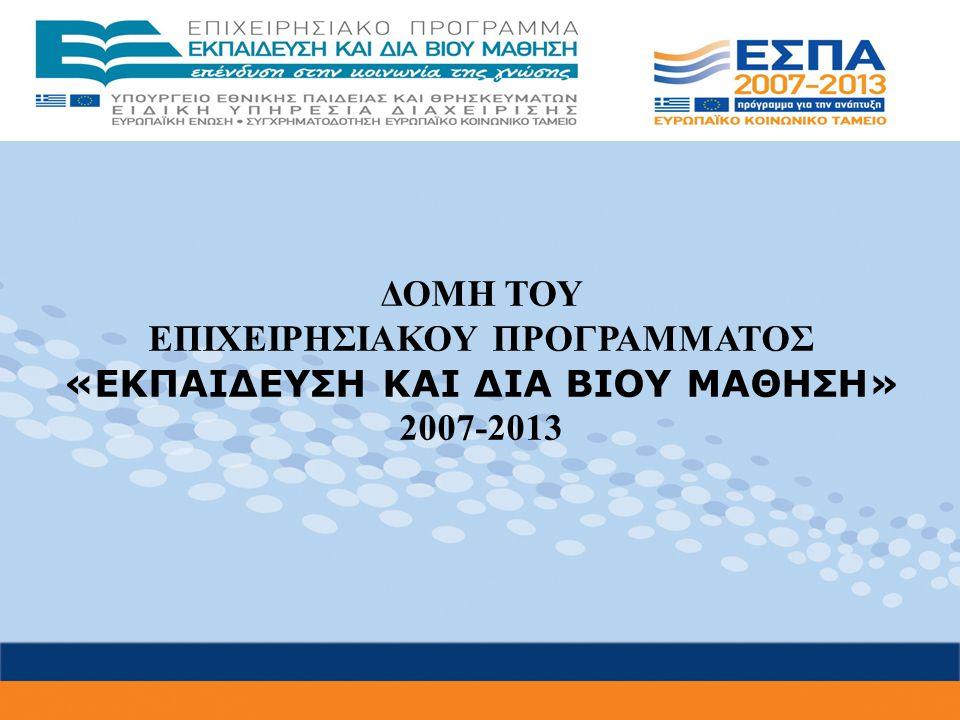 Στρατηγικοί Στόχοι του ΕΠ «Εκπαίδευση και Δια Βίου Μάθηση» 1ος Στρατηγικός Στόχος: «Αναβάθμιση της ποιότητας της εκπαίδευσης και προώθηση της κοινωνικής ενσωμάτωσης» 2ος Στρατηγικός Στόχος: «Αναβάθμιση των συστημάτων αρχικής επαγγελματικής κατάρτισης και επαγγελματικής εκπαίδευσης και σύνδεση της εκπαίδευσης με την αγορά εργασίας» 3ος Στρατηγικός Στόχος: «Ενίσχυση της δια βίου εκπαίδευσης ενηλίκων» 4ος Στρατηγικός Στόχος: «Ενίσχυση του ανθρώπινου κεφαλαίου για την προαγωγή της έρευνας και της καινοτομίας»