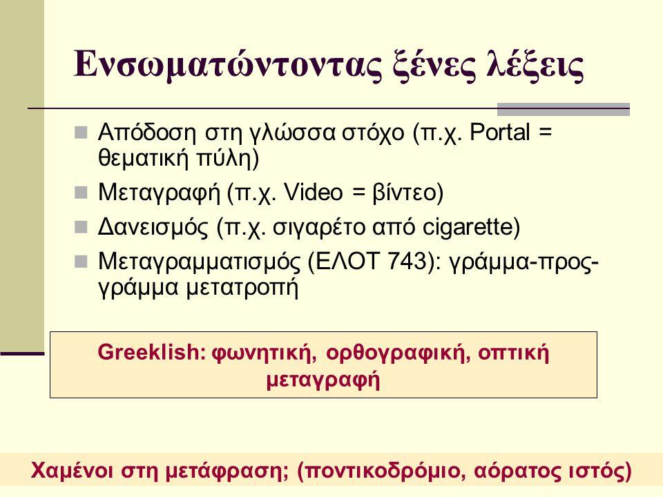 20/11/2014 Γλωσσική Τεχνολογία11 Ενσωματώντοντας ξένες λέξεις Απόδοση στη γλώσσα στόχο (π.χ. Portal = θεματική πύλη) Μεταγραφή (π.χ. Video = βίντεο) Δ
