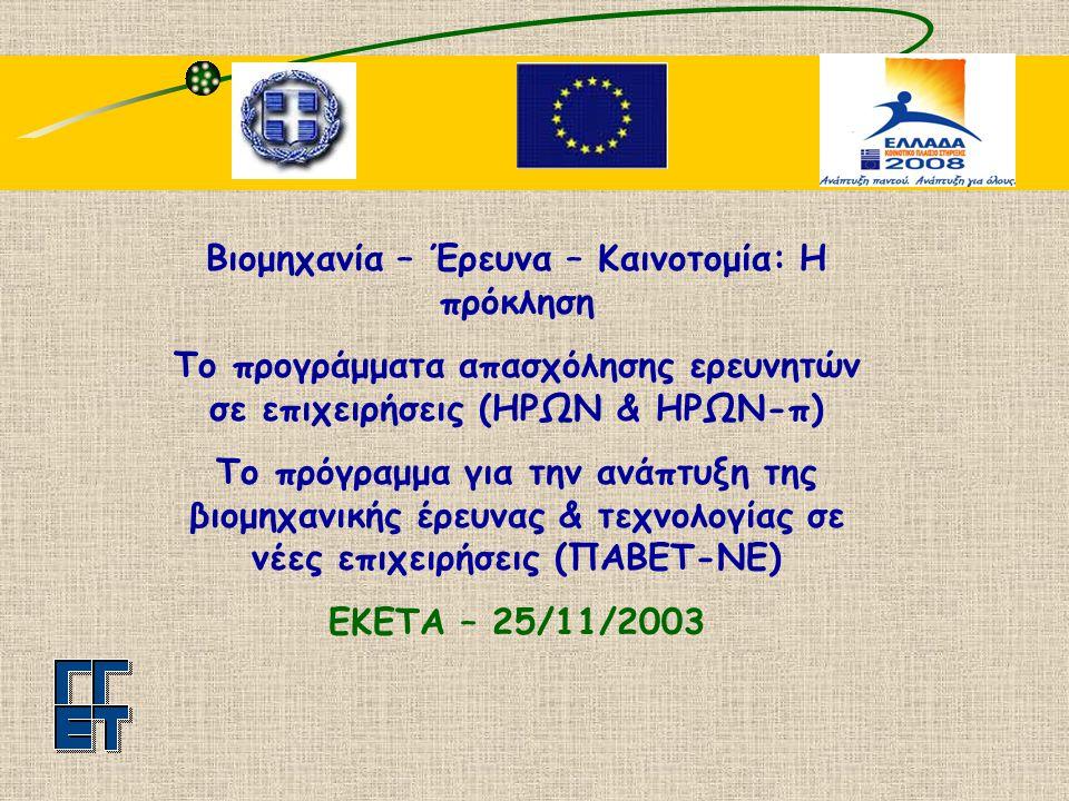 Βιομηχανία – Έρευνα – Καινοτομία: Η πρόκληση Το προγράμματα απασχόλησης ερευνητών σε επιχειρήσεις (ΗΡΩΝ & ΗΡΩΝ-π) Το πρόγραμμα για την ανάπτυξη της βιομηχανικής έρευνας & τεχνολογίας σε νέες επιχειρήσεις (ΠΑΒΕΤ-ΝΕ) ΕΚΕΤΑ – 25/11/2003