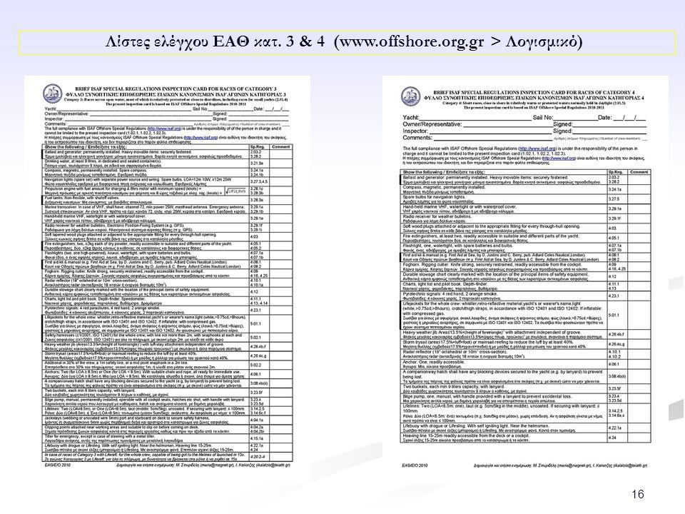 16 Λίστες ελέγχου ΕΑΘ κατ. 3 & 4 (www.offshore.org.gr > Λογισμικό)