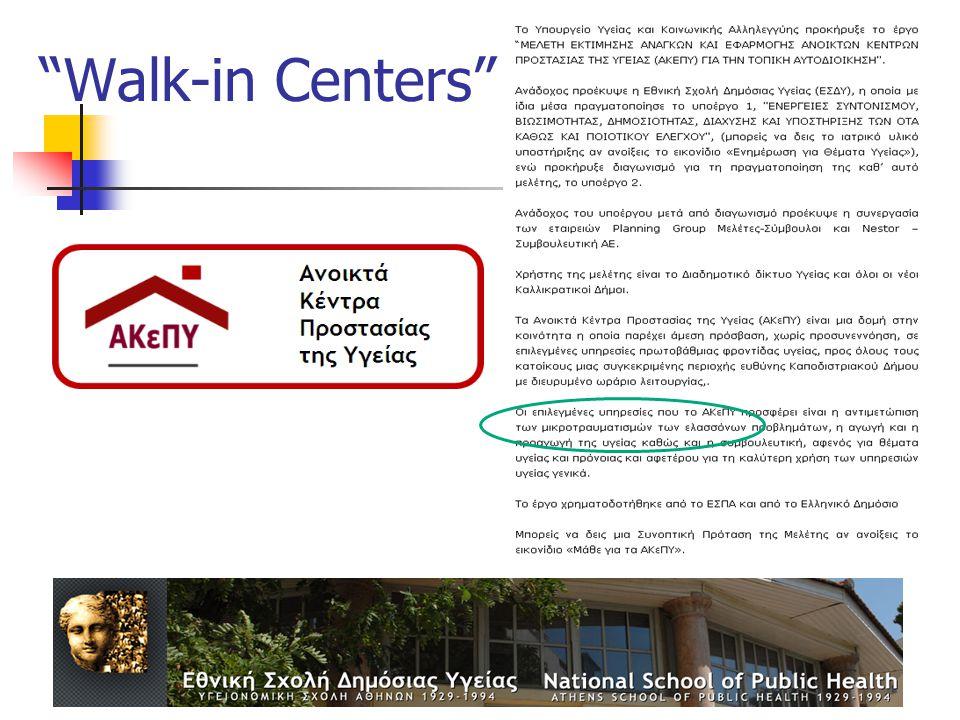 """Walk-in Centers"""