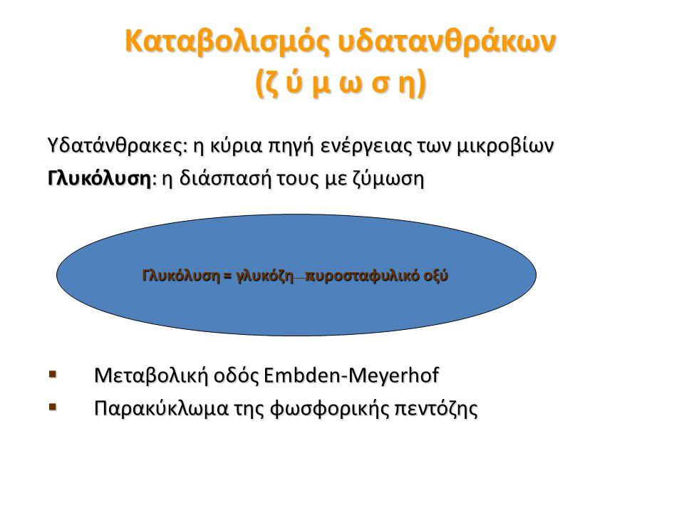 Καταβολισμός υδατανθράκων (ζ ύ μ ω σ η) Υδατάνθρακες: η κύρια πηγή ενέργειας των μικροβίων Γλυκόλυση: η διάσπασή τους με ζύμωση  Μεταβολική οδός Embden-Meyerhof  Παρακύκλωμα της φωσφορικής πεντόζης Γλυκόλυση = γλυκόζη πυροσταφυλικό οξύ