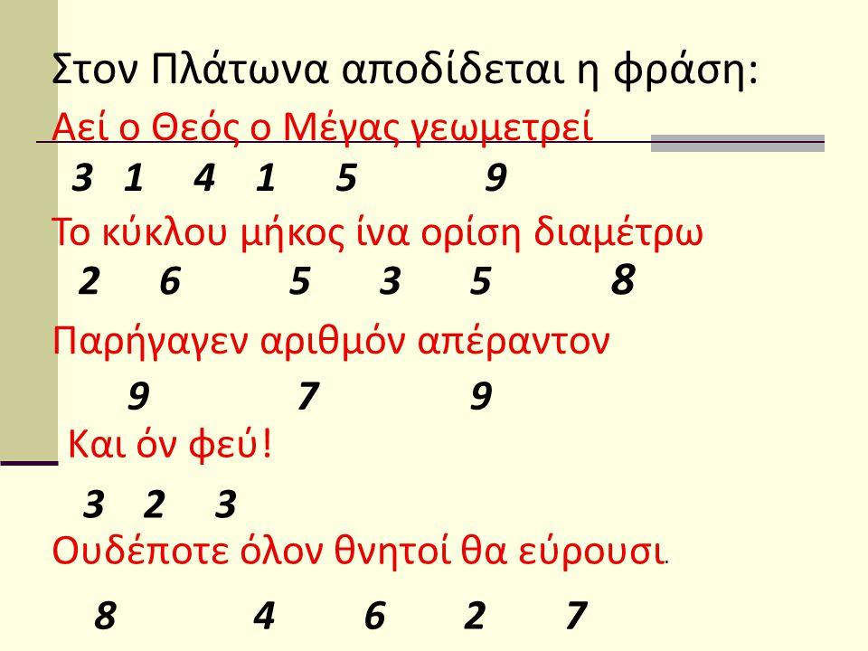 Στον Πλάτωνα αποδίδεται η φράση: Αεί ο Θεός ο Μέγας γεωμετρεί 3 1 4 1 5 9 Το κύκλου μήκος ίνα ορίση διαμέτρω 2 6 5 3 5 8 Παρήγαγεν αριθμόν απέραντον 9 7 9 Και όν φεύ.