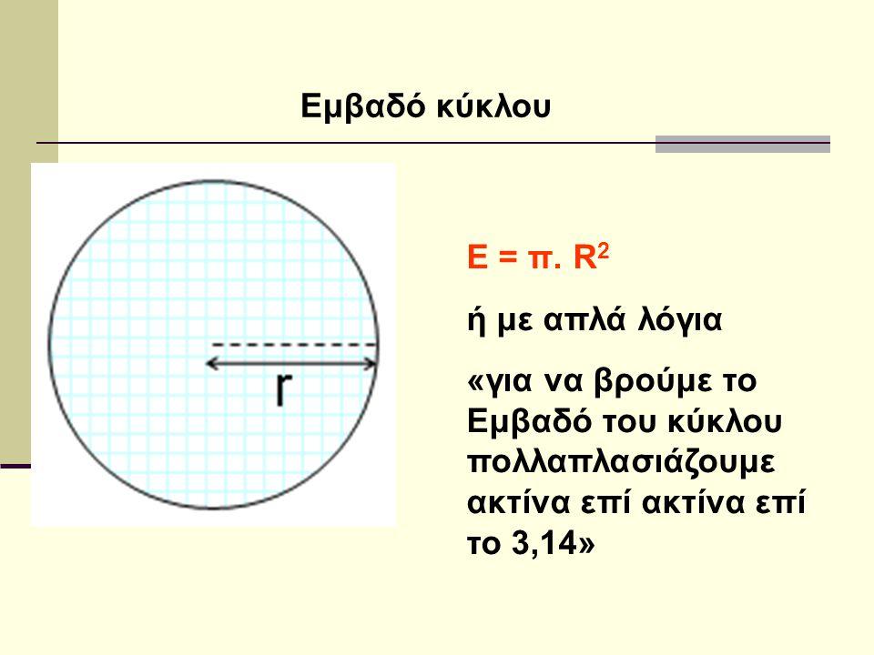 Ε = π. R 2 ή με απλά λόγια «για να βρούμε το Εμβαδό του κύκλου πολλαπλασιάζουμε ακτίνα επί ακτίνα επί το 3,14»