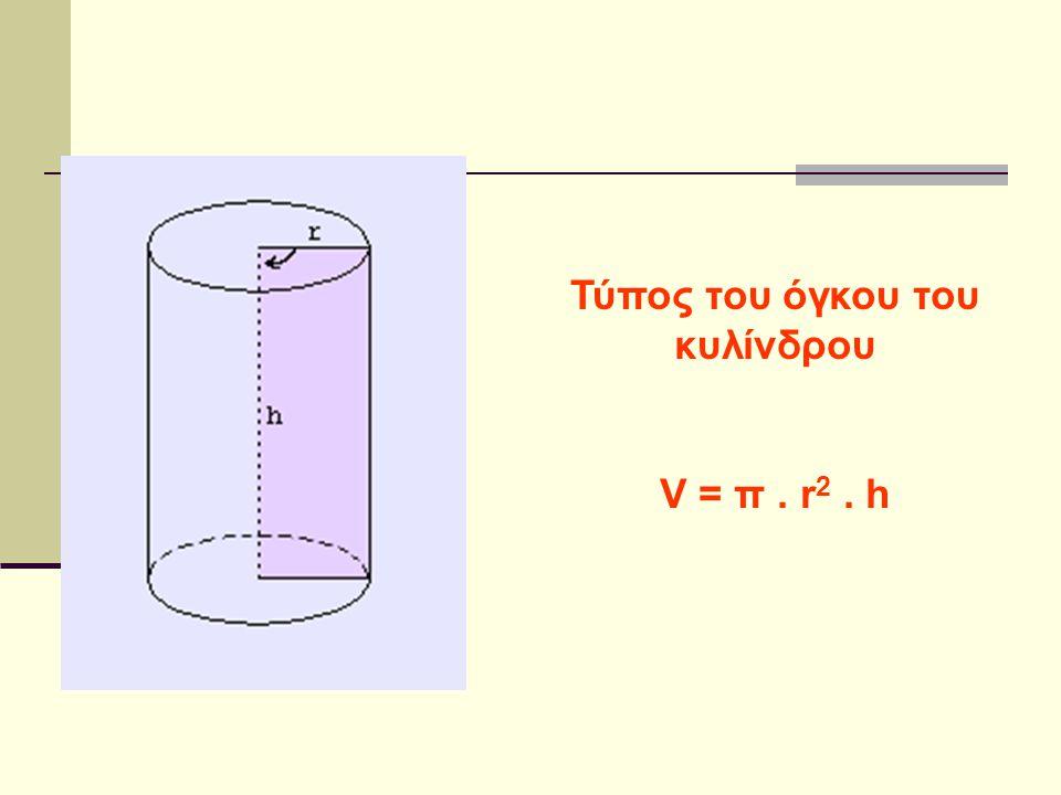 Τύπος του όγκου του κυλίνδρου V = π. r 2. h