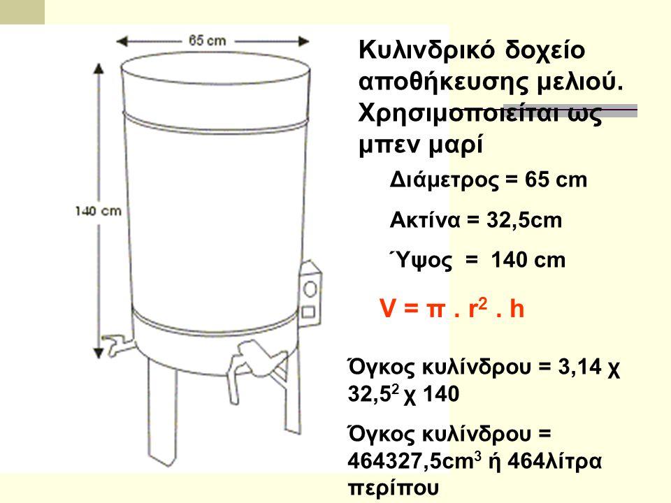 Διάμετρος = 65 cm Ακτίνα = 32,5cm Ύψος = 140 cm Κυλινδρικό δοχείο αποθήκευσης μελιού. Χρησιμοποιείται ως μπεν μαρί Όγκος κυλίνδρου = 3,14 χ 32,5 2 χ 1